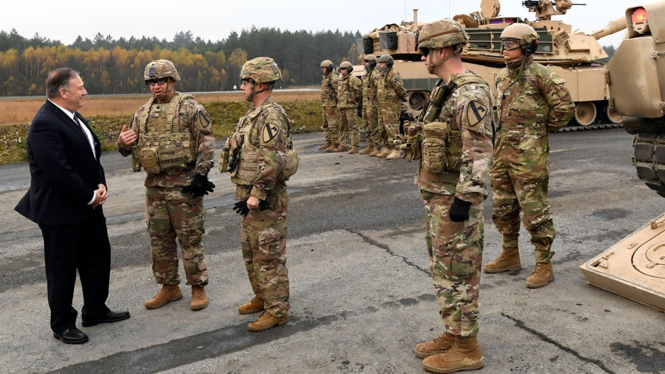 US Secretary of State Mike Pompeo speaks with US soldiers during his visit at American military installations in the German communities of Grafenwoehr and Vilseck, Germany, Nov. 7, 2019.