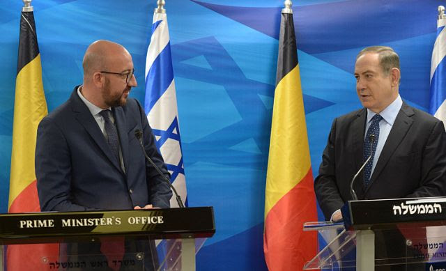 Belgiian Prime Minister Charles Michel and Israeli Prime Minister Benjamin Netanyahu at PMO in Jerusalem.