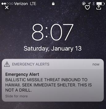 Hawaii, missile alert, January 13 2018