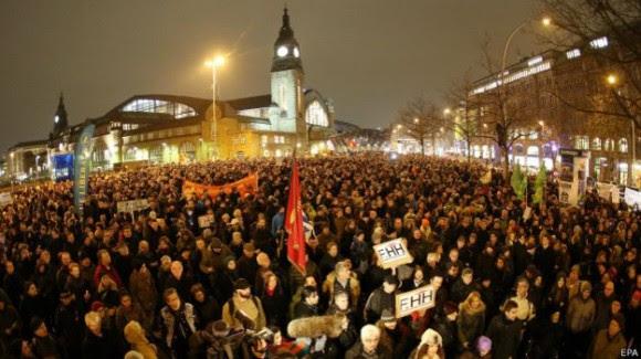 En Hamburgo (foto) y Dresden se escenificaron las mayores concentraciones organizadas por Pegida.