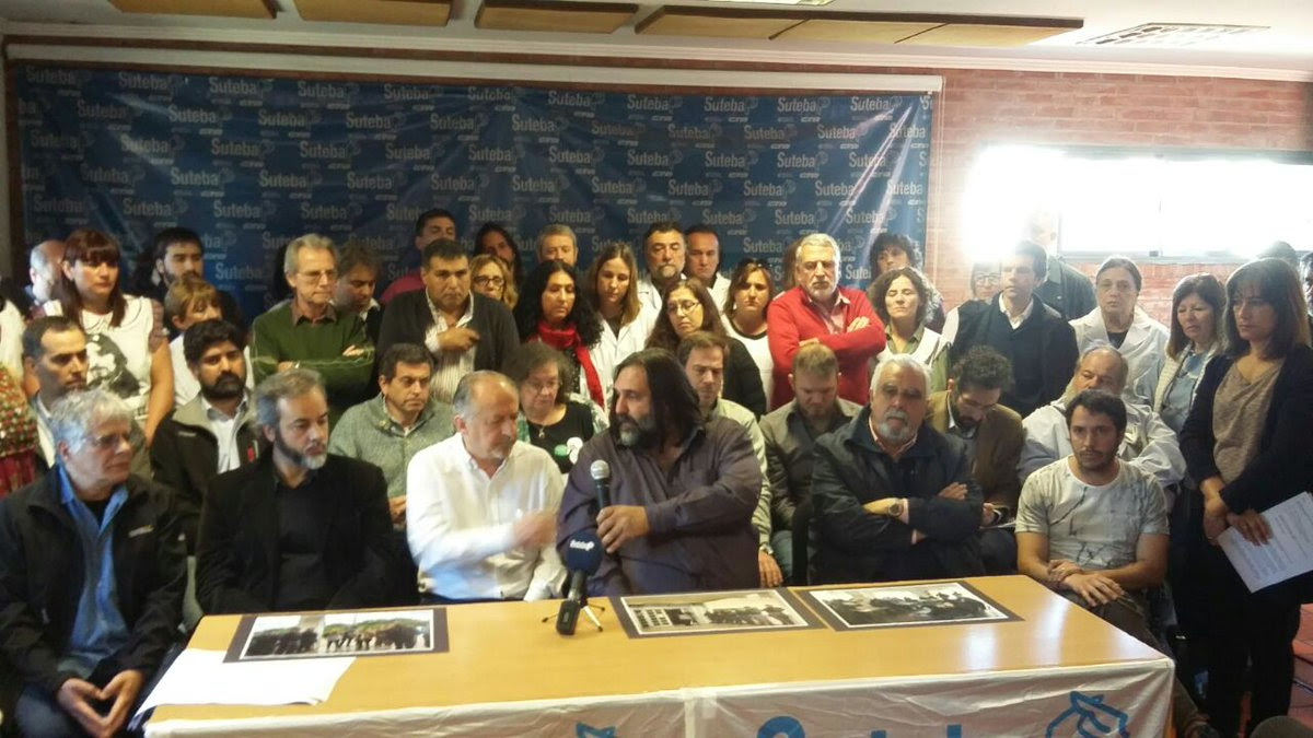 Roberto Baradel y Hugo Yasky, en la conferencia de prensa. (Fuente: Twitter)