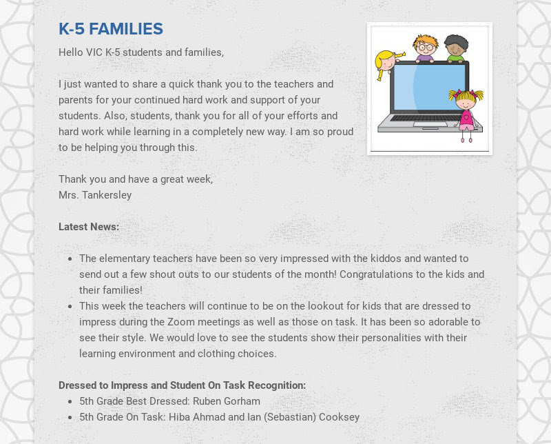 K-5 FAMILIES Hello VIC K-5 students and families, I just wanted to share a quick thank you to...