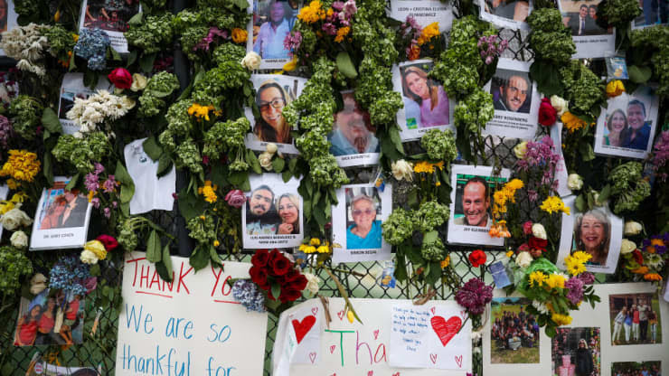 Image from a vigil for missing victims of the Florida condo collapse