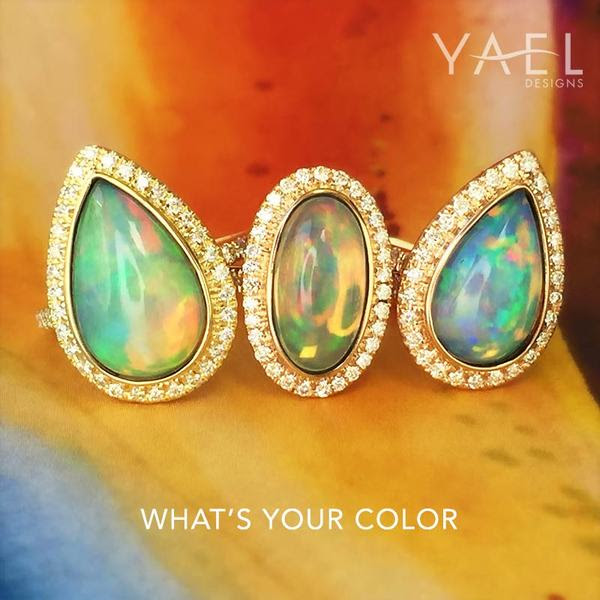 Whats Your Color - Fine Ethiopian Fiery White Opal and Diamond Rings - Yael Designs, makers of unique and custom jewelry