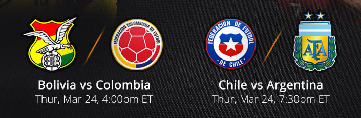 Watch Bolivia vs Colombia and Chile vs Argentina Live