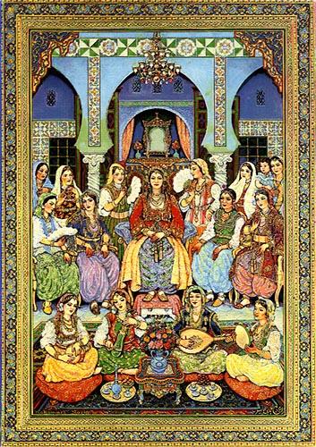 """""""O dia após o casamento"""" Trabalho de Mohamed Racim, fundador da escola em miniatura argelina.  (1896-1975)."""