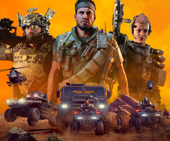 3 Call of Duty characters standing together with images of military vehicles racing below them.