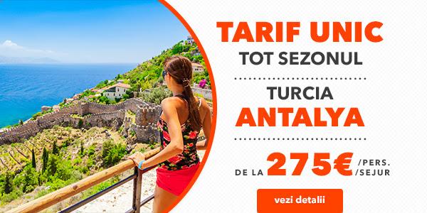ANTALYA – TARIF UNIC TOT SEZONUL!!! – REZERVARI PANA LA 15.04.2018