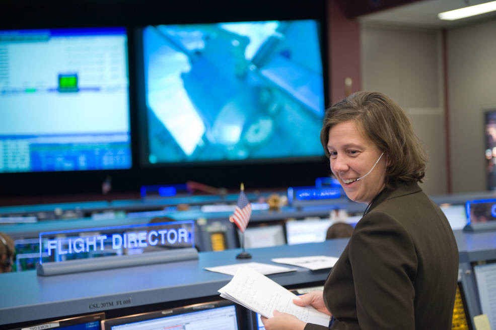 Holly Ridings at her Flight Director console in the space station flight control room in the Mission Control Center