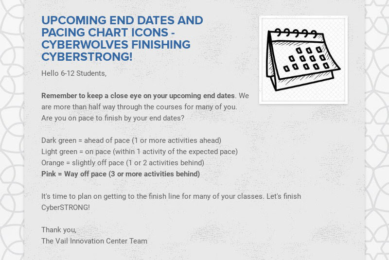 UPCOMING END DATES AND PACING CHART ICONS - CYBERWOLVES FINISHING CYBERSTRONG! Hello 6-12...