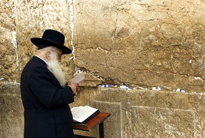 An ultra-Orthodox Jewish man                 prays at the Western Wall.