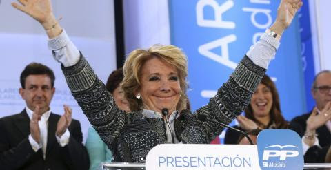 Esperanza Aguirre, en un mitin del partido en Pinto (Madrid)./ EUROPA PRESS
