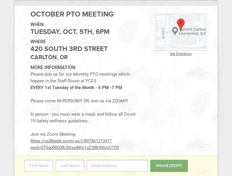 OCTOBER PTO MEETING                         WHEN                         TUESDAY, OCT. 5TH, 6PM                         WHERE                         420 SOUTH 3RD STREET                         CARLTON, OR                         MORE...