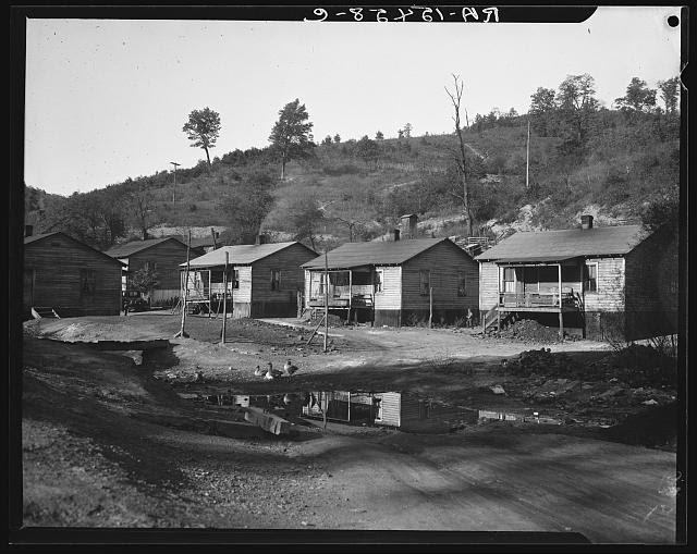 Miner's house at Scott's Run, West Virginia. Note sewerage system