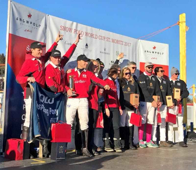 St. Moritz World Snow Polo Cup finalists and sponsors on final day of the tournament.