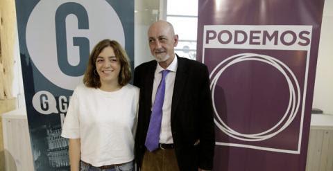 La portavoz de Ganemos Madrid, Celia Meyer, y el secretario local de Podemos, Jesús Montero, en la presentación de su acuerdo / EFE