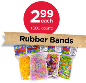 2.99 each (600 count) Rubber Bands