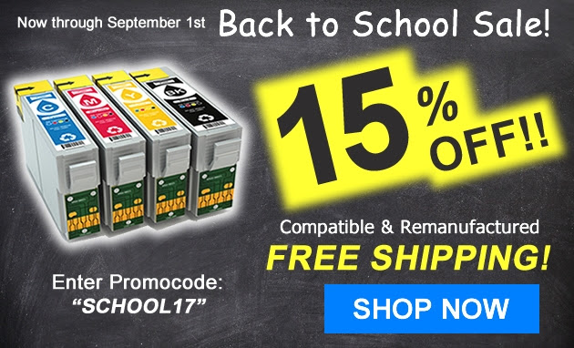 Back to School Save extra 15% on Ink