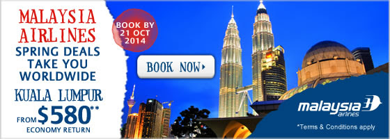 Malaysia airlines spring sensations deals, Kuala Lumpur  from $580* at Zuji.com.au