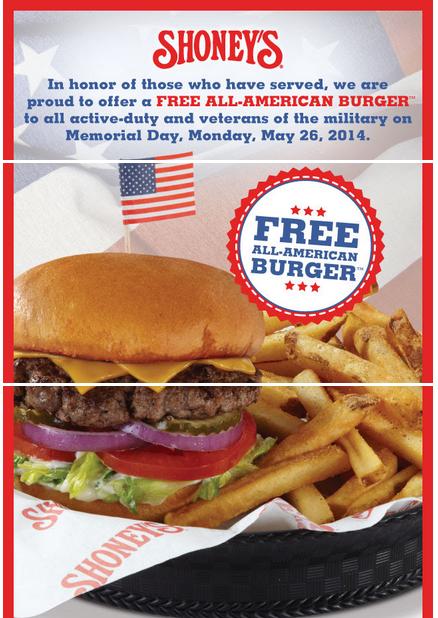shoneys Free All American Burger at Shoneys For Active Duty Military and Veterans!
