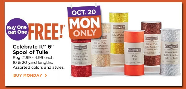 Buy One Get One FREE! Oct.20 MON ONLY