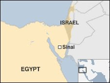 Map showing Egypt and Israel