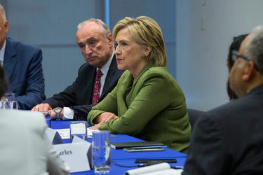 Hillary Clinton during a meeting with law enforcement officials in New York last week.