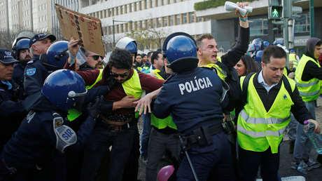 Protesta de 'chalecos amarillos', Lisboa, Portugal, 21 de diciembre de 2018
