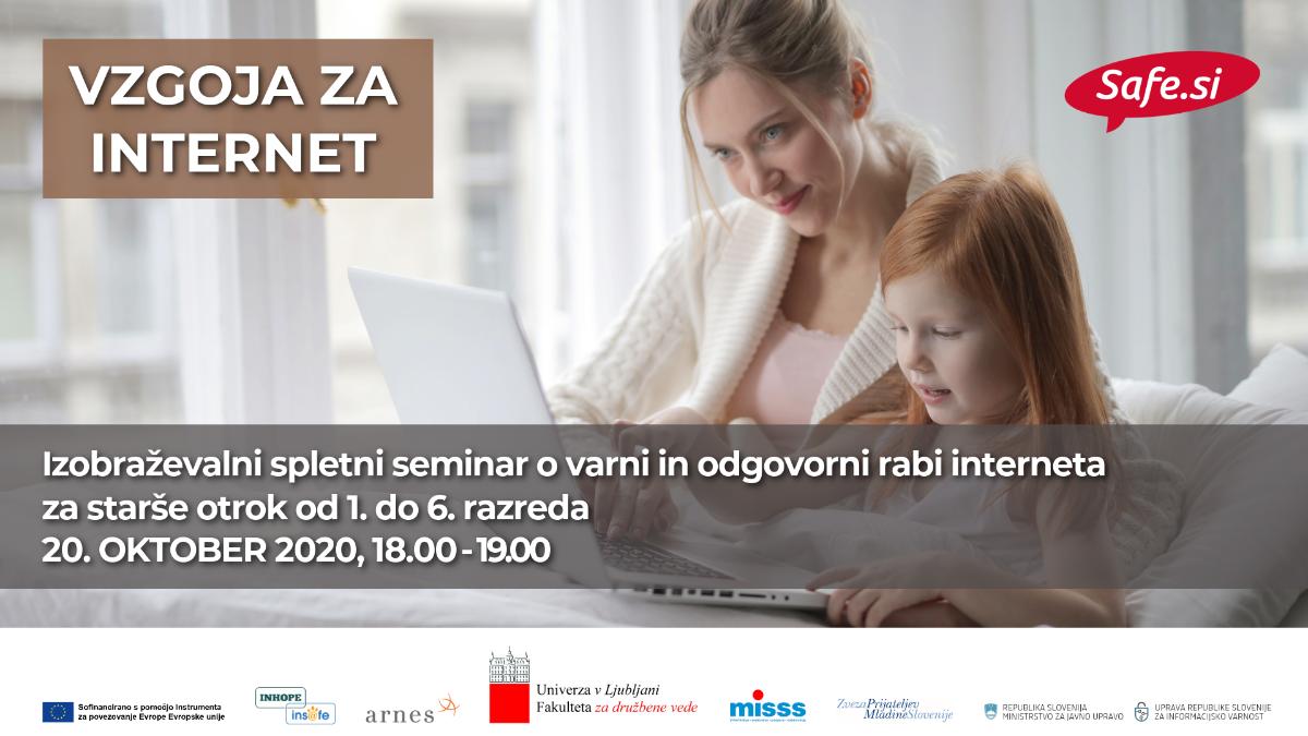 Vzgoja za internet: Izobraževalni spletni seminar za starše otrok od 1. do 6. razreda