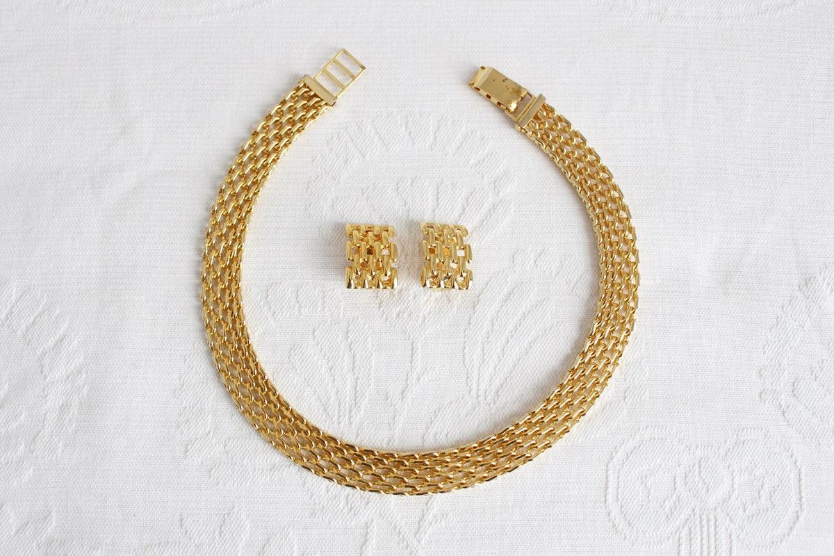 VINTAGE GOLD CHAIN EARRINGS CHOKER SET