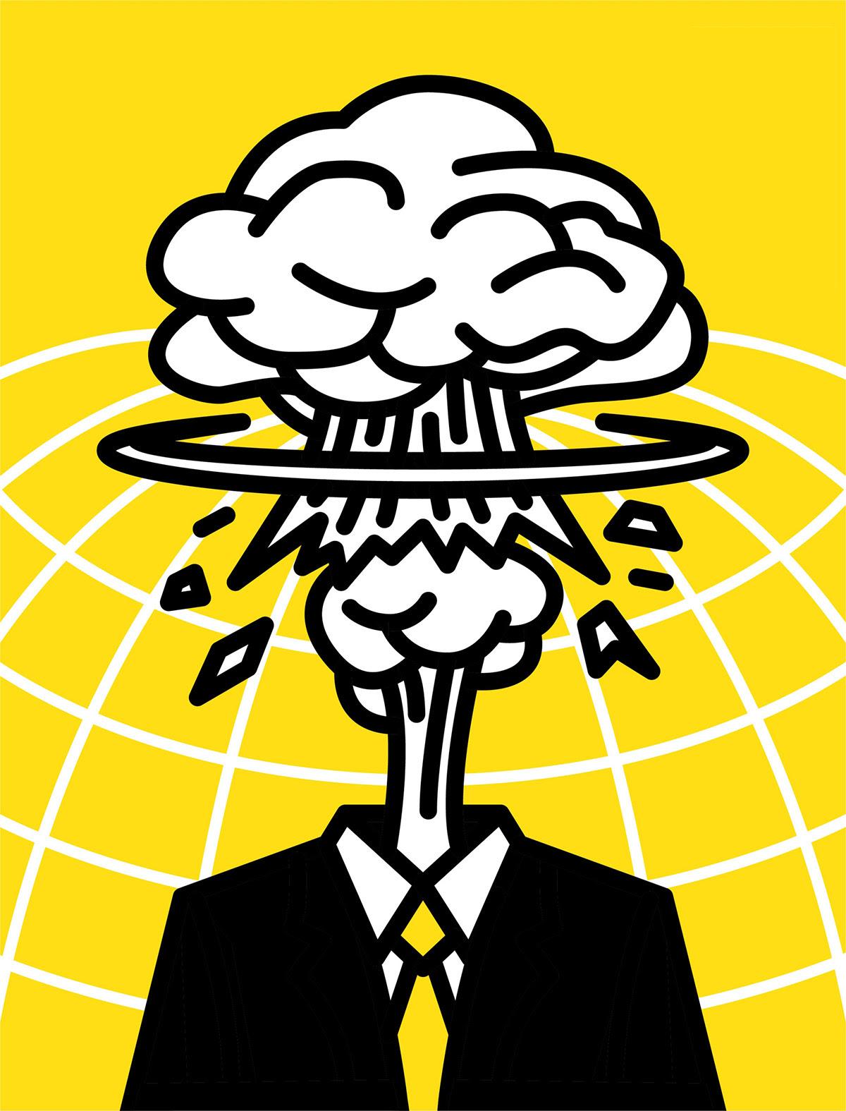 Ilustração da cabeça do homem explodindo