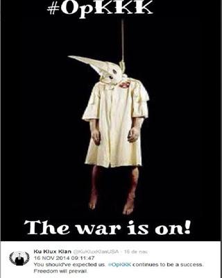 Mensaje de Anonymous en Twitter dirigido al Ku Klux Klan.