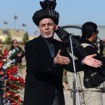 Le président afghan Ashraf Ghani lors des funérailles du général Mohayedin Ghori à Herat le 1er décembre 2016. (Crédit : AFP PHOTO / AREF KARIMI)