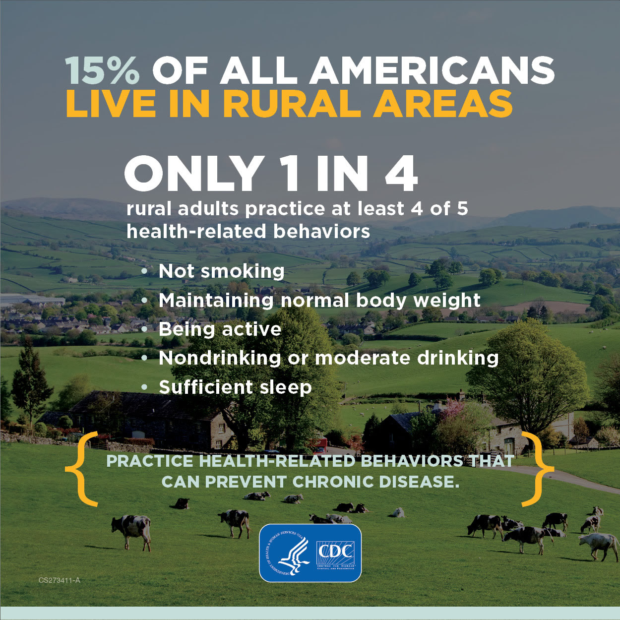15% 0f all Americans live in rural areas. Only 1 in 4 practice 4 of 5 health related behaviors including not smoking, maintaining normal body weight, being active, nondrinking and sufficient sleep.