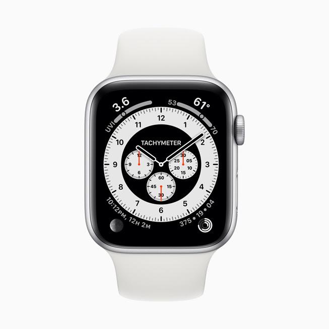 Apple Watch 5 螢幕中顯⽰的 Chronograph Pro 錶⾯。
