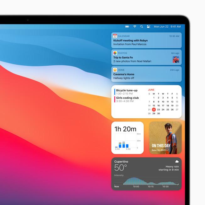 顯示在 MacBook Pro 上 macOS Big Sur 中的「通知中心」