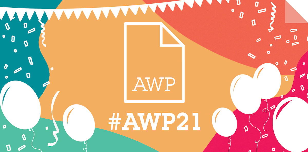 AWP logo on a colorful background with balloons