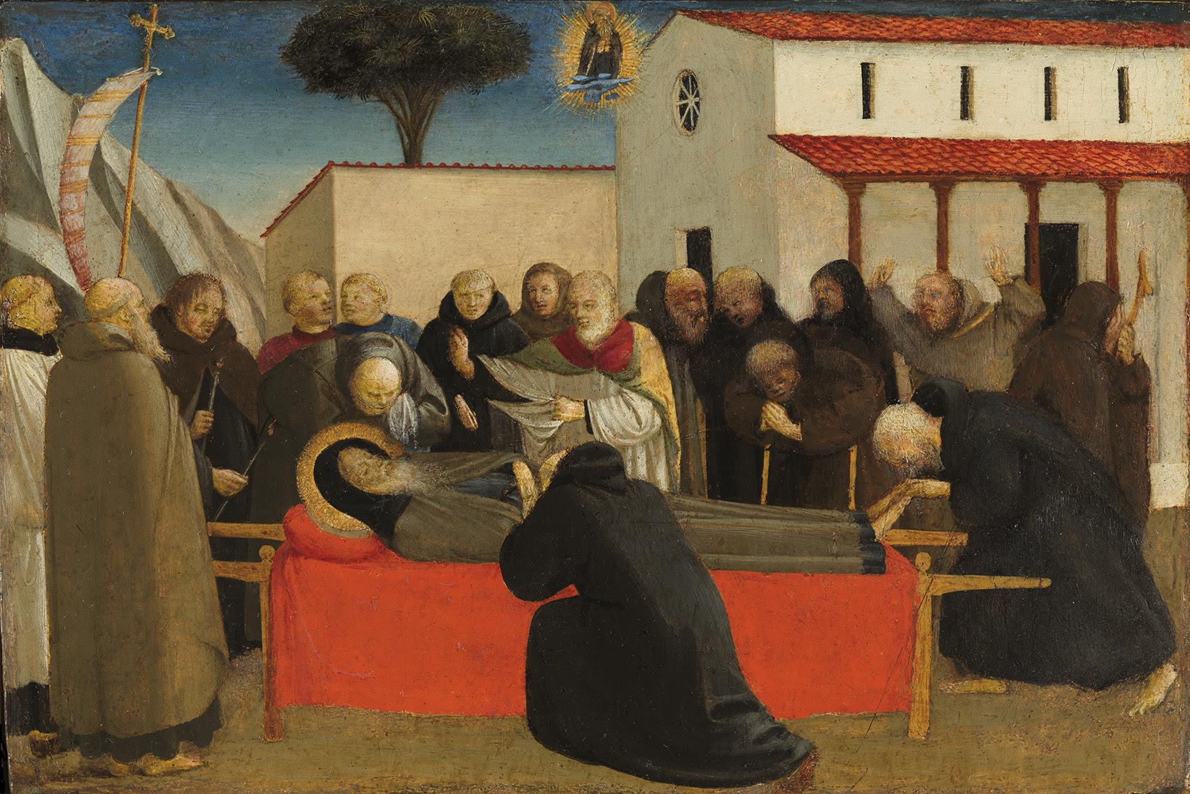 Funeral de San Antonio abad, h. 1426-30, témpera sobre madera de chopo, 29,2 x 19,5 cm. (Donación de don Carlos Fitz-Stuart y Martínez de Irujo, XIV duque de Alba de Tormes, al Museo del Prado).