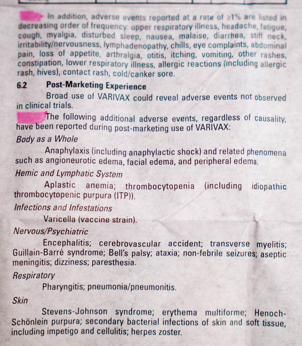 Varivax Vaccine Insert 7 - vacunas preguntas que nunca te permitirán realizar