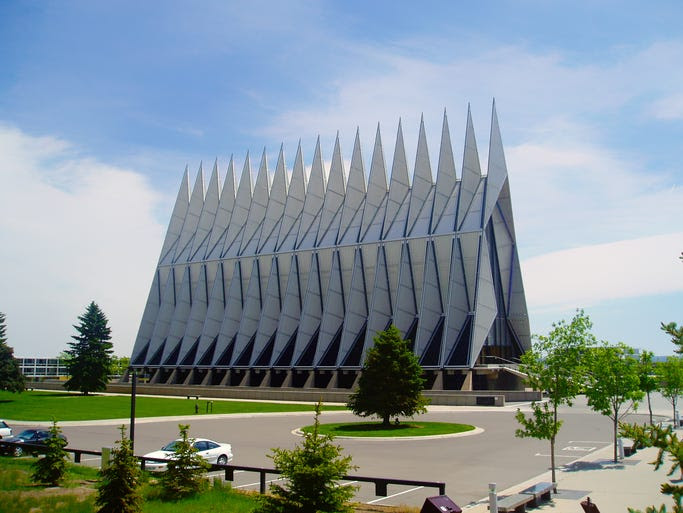 You don't                                                           typically                                                           associate the                                                           military with                                                           beautiful                                                           churches, but                                                           the Cadet                                                           Chapel at the                                                           Air Force                                                           Academy in                                                             Colorado                                                           Springs is                                                           just that.