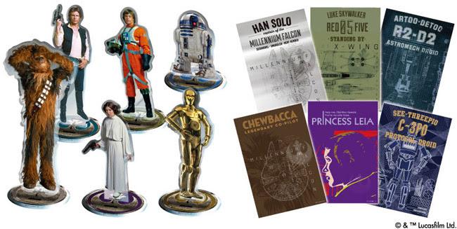 (写真/左)左上からハン・ソロ、 ルーク・スカイウォーカー、 R2-D2、 チューバッカ、 レイア・オーガナ、 C-3PO ※キャラクター高さ(約)平均129mm/最大176mm/最小83mm(写真/右)大判ポストカード×6枚