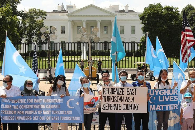 Uyghurs rally outside of the White House
