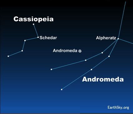 Many people use the M- or W-shaped constellation Cassiopeia to find the Andromeda Galaxy.  See how the star Schedar points to the galaxy?  Click here to expand image.