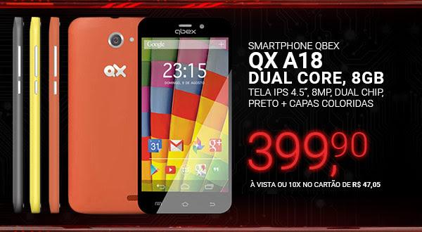 Smartphone Qbex QX A18, Dual Core, 8GB, Tela IPS 4.5, 8MP, Dual Chip, Preto + Capas Coloridas
