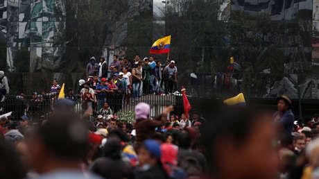 Concentración de manifestantes en el centro de Quito, Ecuador, 10 de octubre de 2019.