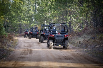 view of a single-file row of off-road vehicles, driven by people wearing helmets, heading away from the camera, on a tree-lined trail