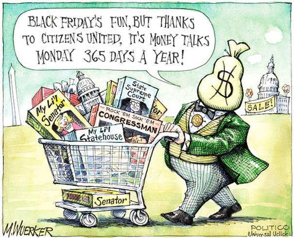 Cartoon showing moneybag-headed man with grocery cart of government officials