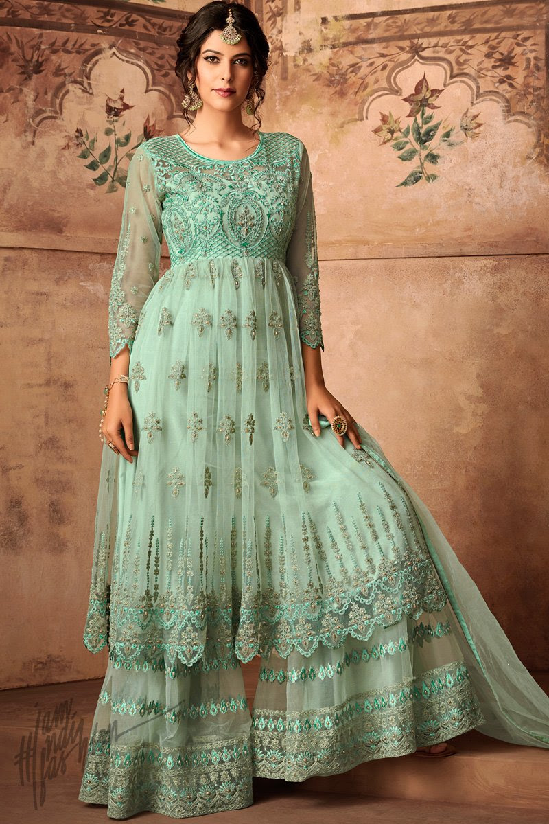 Mint Green Net Party Wear Palazzo Suit