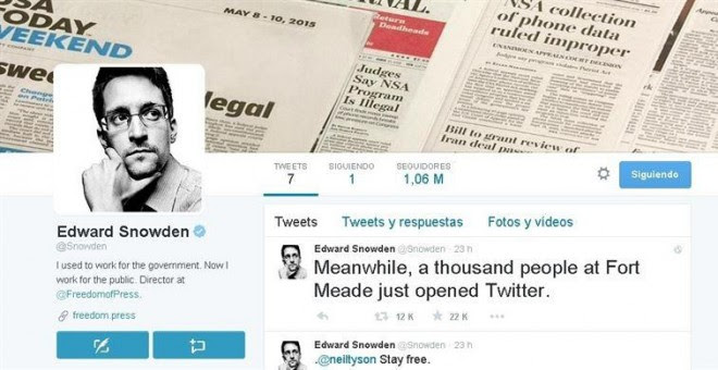 Imagen del perfil de Twitter de Edward Snowden.
