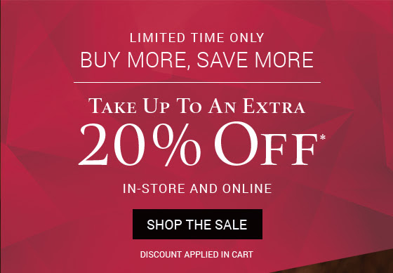 Take up to an extra 20% off* in-store and online through November 19.